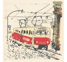 Prague Tram (Praha, Česká republika), United Kingdom, by Clare Caulfield. New York Canvas, Illustration Inspiration, Illustration Blume, Illustration Kids, Urban Sketching, Prague, Printmaking, Collages, Illustrators