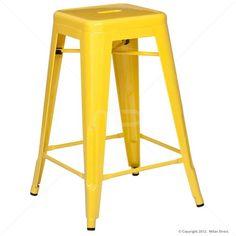 Vintage Metal Cafe Bar Stool - 65cm- Xavier Pauchard Reproduction - Yellow
