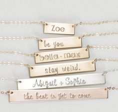 Bar Necklace, Name Bar Necklace Personalized, Personalized Name Plate, Engraved Bar Necklace/Gold, Silver, Gold Rose Gold, Gift for Her