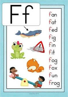 Phonics Letter of the Week Ff: CVC beginning sounds poster (and also one CCVC for a challenge) Child Teaching, Teaching Phonics, Preschool Learning Activities, Teaching Resources, Learning English For Kids, Kids English, Kids Learning, Learning Spanish, Phonics Flashcards