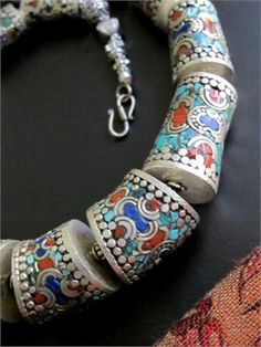 Tibetan Tribal Jewelry - Large Articulated Silver Necklace