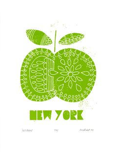 'NY Apple' - hand pulled, limited edition screen print by biroRobot www.birorobot.co.uk