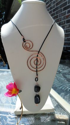 Copper Necklace, Lariat Necklace With black Greek Leather, black rock and swarovski crystal. $35.00, via Etsy.