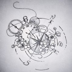 Compass and clock pencil on paper 21 x 20 cm 2015 30 EUR The post Compass and clock pencil on paper 21 x 20 cm … appeared first on Woman Casual - Tattoos And Body Art Tattoo Sketches, Tattoo Drawings, Drawing Sketches, Body Art Tattoos, Sleeve Tattoos, Art Drawings, Drawing Ideas, Sketching, Compass Tattoo