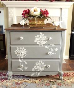 This but inverted with Japanese blossoms. Chalk Painted Furniture Images Chalk Painted Dresser With Stenciled Flower Motif Chalk Paint Furniture Designs Stencil Dresser, Chalk Paint Dresser, Chalk Paint Furniture, Furniture Projects, Home Furniture, Gray Dresser, Furniture Stencil, French Furniture, Dresser Drawers
