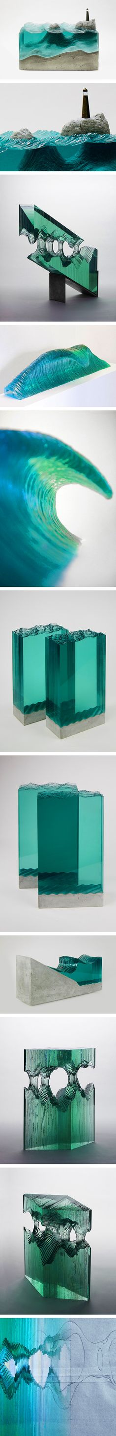 Self-taught artist Ben Young creates stunning sculptures of ocean waves and watery landscapes by layering multiple sheets of hand-cut glass. Young, who also surfs and builds boats professionally, is inspired by his upbringing in New Zealand's beautiful Bay of Plenty. His affinity for the sea is clear in his extraordinary glass works, which portray both the gentle tranquility and the powerful force of Mother Nature's tides.