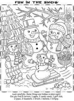 Winter Snowman Coloring Page Hand Embroidery Snowman Coloring