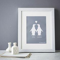 Personalised Penguins In Love Print