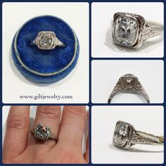 This spectacular 1.51 Old Cushion Cut diamond in platinum filigree on a white gold band is killing us. $16,995. Call to purchase. #giltjewelry #artdeco #cushioncut #diamond #platinum #filigree #engagement #wedding #ido #ringoftheday