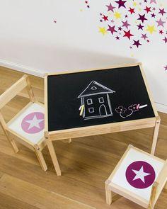 Transformer le plateau d'une table d'enfant en tableau noir