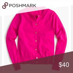"""{J. Crew} Pink """"Jackie"""" Merino Wool Cardigan - NWT Brand new with tags, never worn. From my smoke and pet free home! The color is a pretty hot pink with gold buttons! 100% Merino wool. Not a factory piece. Size small is equivalent to a 4/6. Looking to only sell on Posh! 😊 J. Crew Sweaters Cardigans"""