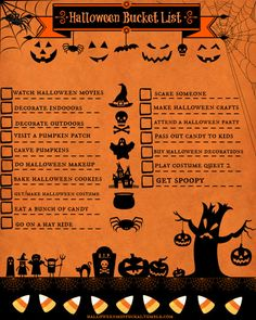 """halloweenmuffuckas: """"This is my Halloween Bucket List, that I made. See previous post for template. Scariest Halloween Decorations Ever, Best Halloween Candy, Halloween Bucket List, Halloween Buckets, Vintage Halloween Decorations, 31 Days Of Halloween, Halloween Signs, Holidays Halloween, Halloween Pumpkins"""