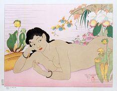 Dans La Nature.Angur  by Paul Jacoulet,1949