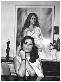 "once-upon-a-time-in-bollywood: ""Meena Kumari. "" There is a similar photo like this but with Waheeda Rehman, I wonder if the same artist painted these portraits? Bollywood Cinema, Bollywood Photos, Indian Bollywood, Bollywood Stars, Bollywood Celebrities, Bollywood Makeup, Pakistani Actress, Bollywood Actress, Rekha Actress"