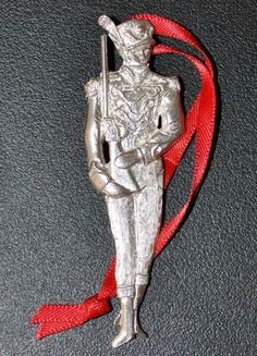 """Toy Soldier"" Sterling Silver Nut Cracker Christmas Tree Ornament, New in Case"