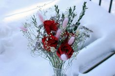 Red Eternal Roses in Glass Vase Wedding Flower Arrangements, Floral Arrangements, Wedding Flowers, Dried Eucalyptus, Preserved Flowers, Bunny Tail, How To Preserve Flowers, Artificial Flowers