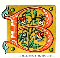 Illuminated Manuscript Letters B, CAPI ::: Milliande-Printables.com, Printable Alphabet Letters Illuminated Decorative & Ornamental, CAPI Inspiration for Type Design Students, typography, Art Journal Lettering
