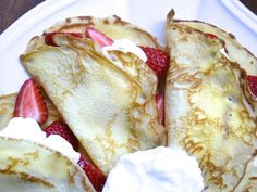 Buttery crepes with sweet cream and fragrant strawberries.
