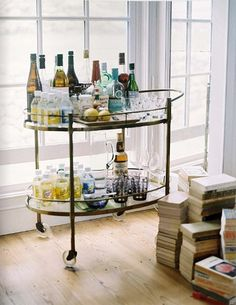 A bar cart is a classy way to display your favorites