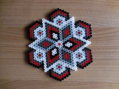 House ornament grey/ black red Hama beads by TCAshop