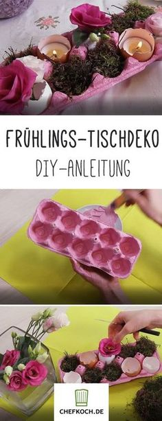 Frühlings-Deko selber machen Spring decoration for the table from an egg carton. # Spring crafts # for spring Spring Decoration, Decoration Table, Homemade Tables, Easter Crafts, Happy Easter, Easter Eggs, Diy And Crafts, Diys, Sweet