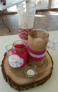 Burlap & Lace Centerpiece  girls i really like the wooden log! i want the wooden log!! lol