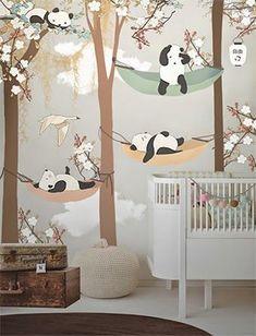 Boy's Nursery - Brown, White, Black - Pandas - Little Hands Wallpaper Mural Nursery Wall Decor, Baby Room Decor, Nursery Room, Boy Room, Kids Room, Nursery Ideas, Baby Bedroom, Girls Bedroom, Bedroom Ideas