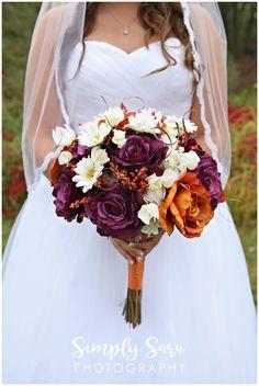 Wedding Photo Ideas - Bride's Bouquet - DIY - Fake Flowers - Purple, Orange & White Flowers - Billings, MT Wedding Photographer