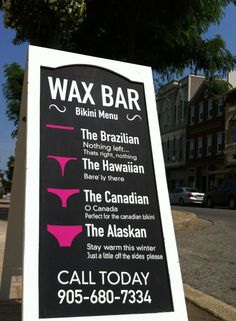 Wax Bar owned by a friend of mine in Thorold, ON. love her sign, funniest one in Niagara so far Penner Penner Kilby-Coppola Spas, Spa Room Decor, Esthetician Room, Bikini Wax, Spa Rooms, Salon Business, Beauty Lounge, Salon Style, Beauty Room