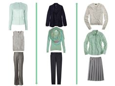 Grayed jade, at work in a capsule wardrobe, from The Vivienne Files