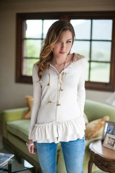 How darling is this Emma ruffle hoodie? Enter to win TWO Evy's Tree sweaters on www.howdoesshe.com