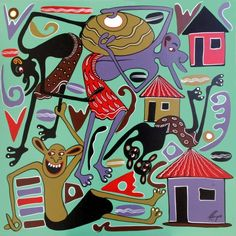 George (Dinyama) Lilanga (The Picasso of Africa), Tanzanian, 1934 - 2005, Contemporary African Art (Contorsionist Cubism)