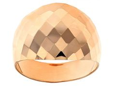 10k Rose Gold Wide Band Ring With Tapered Shank