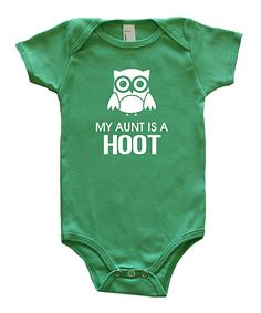 Look at this Rocket Bug Green 'My Aunt is a Hoot' Bodysuit - Infant on #zulily today!