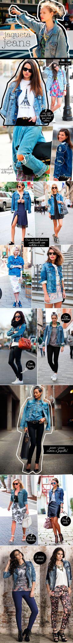 A jaquetinha jeans é a peça perfeita para aquecer e complementar o visual com atitude. O jeans é o tecido chave desse inverno e vai muito além do básico! Separamos várias imagens de street style que mostram com o que e como usar a peça, vem espiar!