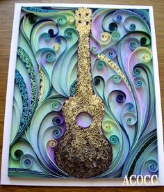Quiller Ukulele - Paper Quilling with Watercolour Wall Art, 8 x 10