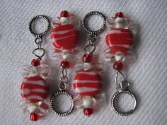 Set of 4 red and white peppermint candy stitch by KatKeRosCorner