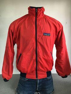80's PATAGONIA Nylon Fleece Jacket Vintage RARE! Big Tag Logo RED Large #Patagonia #FleeceJacket
