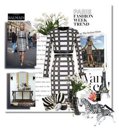 """Paris Fashion Week trends Lena Perminova in Balmain"" by theitalianglam ❤ liked on Polyvore featuring Balmain, GALA, Allstate Floral, Jimmy Choo, Infinity Instruments, Chanel, Forever 21, women's clothing, women's fashion and women"