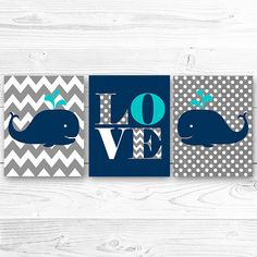 Whale Nursery art print  nautical decor, Whale Nursery Printable in Navy Blue and Grey, Whale nursery letters Set of 3 prints