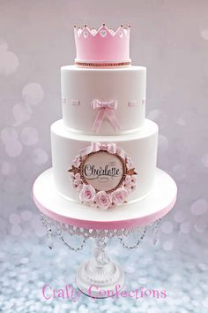 Based on a double-barrel cake I fell in love with, made by Rosy cakes, I made this for a family Christening yesterday Tiara Cake, Crown Cake, Baby Girl Cakes, Baby Birthday Cakes, Gateau Baby Shower, Baby Shower Cakes, Girly Cakes, Cute Cakes, Fondant Cakes