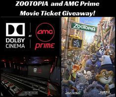 Zootopia and Dolby Cinema AMC Prime Movie Ticket Giveaway for Houston! ends March 3 2016