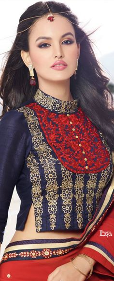 ♔LAYA♔SAREE BLOUSE♔♔♔ Choli Designs, Sari Blouse Designs, Saree Blouse Patterns, Designer Blouse Patterns, Blouse Styles, Indian Blouse, Indian Sarees, Indian Attire, Indian Outfits