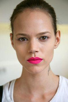love this bright pink matte lip.  Nars Carthage?