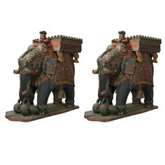 xx..tracy porter..poetic wanderlust...- Monumental Pair of Carved Wood Indian Elephant Planters
