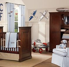 So Cute With Airplanes On The Wall And Mobile Vintage Airplane Nursery Aviation