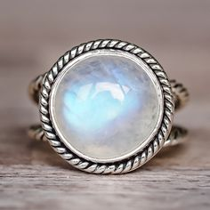 Large Double Twist Moonstone Rnig   Bohemian Gypsy Jewels   Indie and Harper