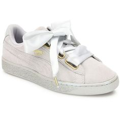 PUMA Basket Heart Suedeand Satin Sneakers (€76) ❤ liked on Polyvore featuring shoes, sneakers, heart sneakers, puma trainers, grey sneakers, grey shoes and breathable sneakers