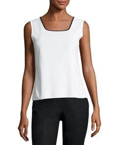 Contrast-Trim Knit Tank, White/Black