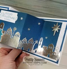 I am really pleased with my Night in Bethlehem Christmas card!!! I made this fun trifold card using the Night in Bethlehem bundle from pg 26 of the 2017 Stampin' UP! Holiday catalog, and just a few
